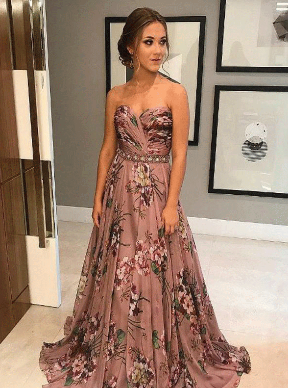 756f2b9000a Unique A-Line Sweetheart Sweep Train Floral Printed Chiffon Prom Dress with