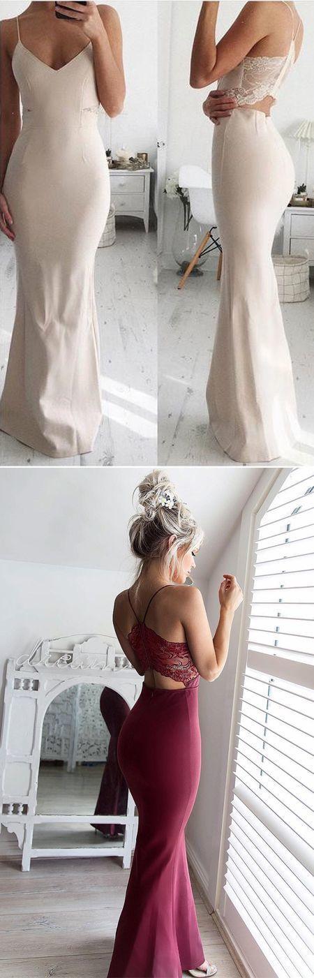 Elegant Mermaid Spaghetti Straps White Satin Floor-Length Prom/Evening Dress