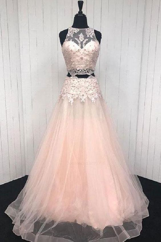 1638ee4015d8e Beautiful Pink Prom Dresses, Lace Prom Dresses, Prom Dresses Two Piece, Prom
