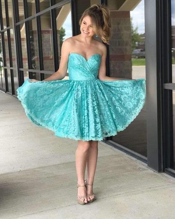 f91bc8f471e Princess Sweetheart Short Teal Lace Homecoming by RosyProm on Zibbet