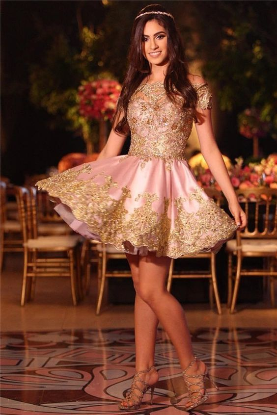 1c729f3df64 Gold Lovely Appliques Short Lace Pink Off-The-Shoulder Homecoming Dress