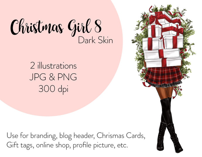 Watercolor fashion illustration - Christmas Girl 8 - Dark Skin