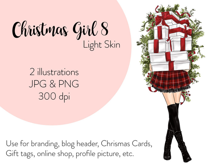 Watercolor fashion illustration - Christmas Girl 8 - Light Skin