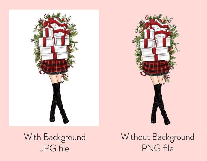Watercolor fashion illustration - Christmas Girl 8 - Light Skin