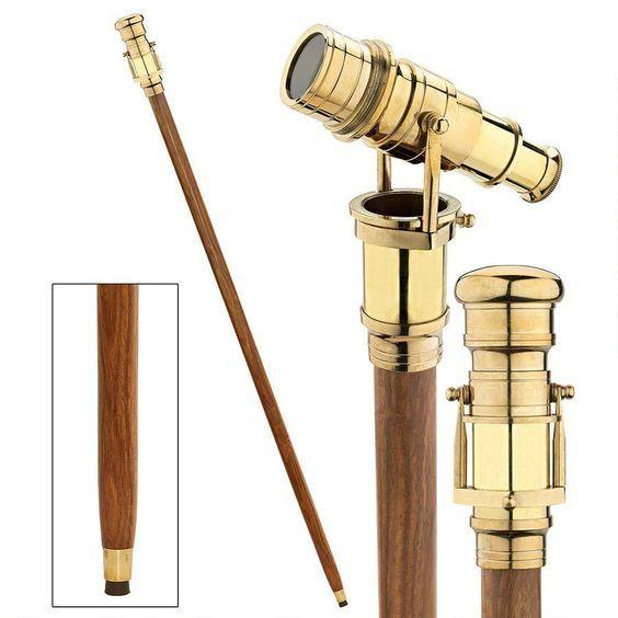 Gentlemen Walking Stick with Telescope Spyglass Binoculars Cane Gentleman Travel
