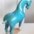 Vintage Chinese Terracotta Horse Sculpture Turquoise Mid Century Modern