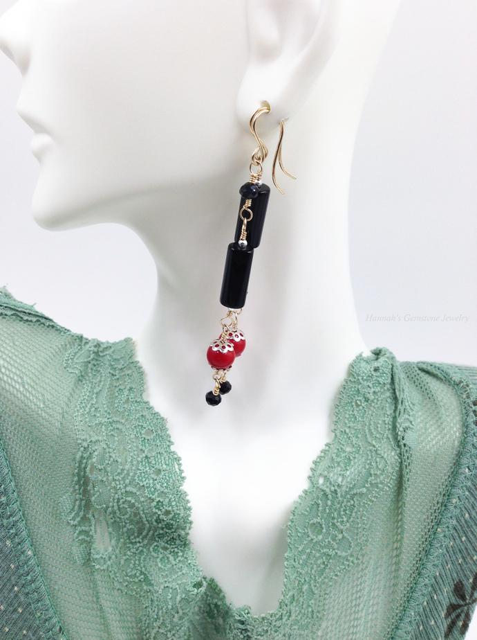 Gold | Red | Black Linear Gemstone Earrings