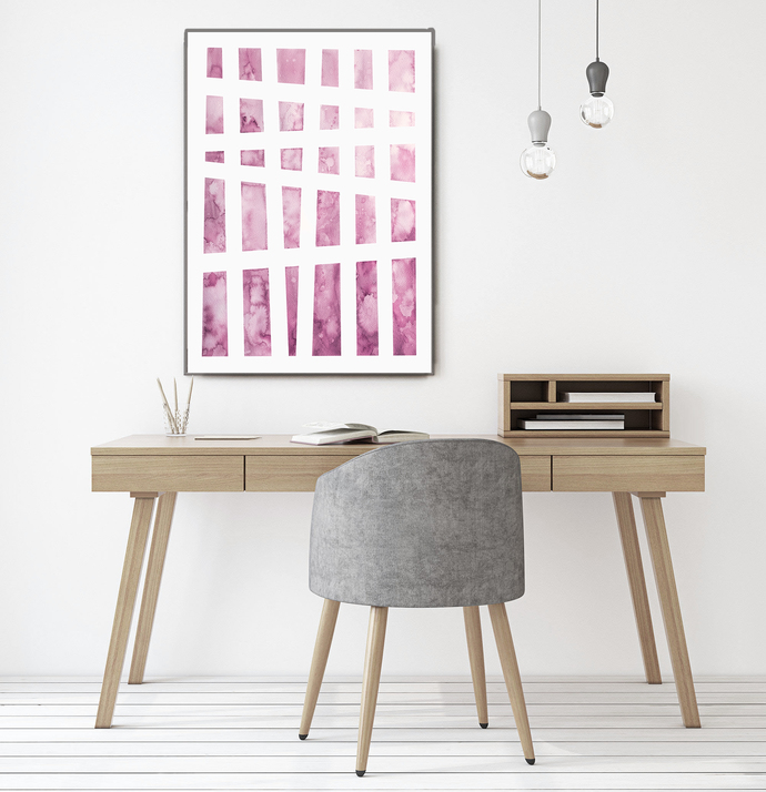 Pink Abstract Print Watercolor Painting Minimalist art Modern art Print Minimal