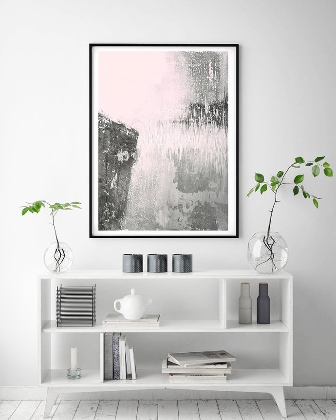 Blush Pink Decor, Pink Abstract Printable Art, Modern Abstract Art, Minimalist