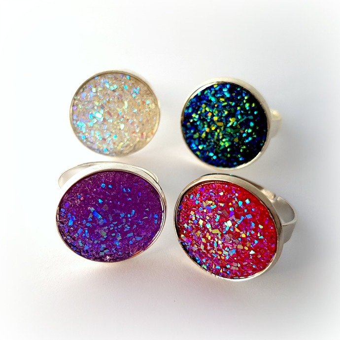 Cute rainbow druzy ring, resin ring, gift for her