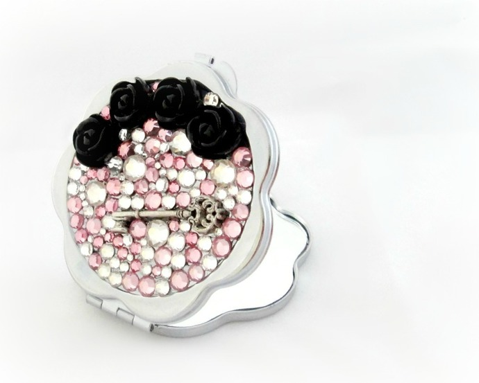 Silver key black roses rhinestone pocket mirror, women accessory, gift for her