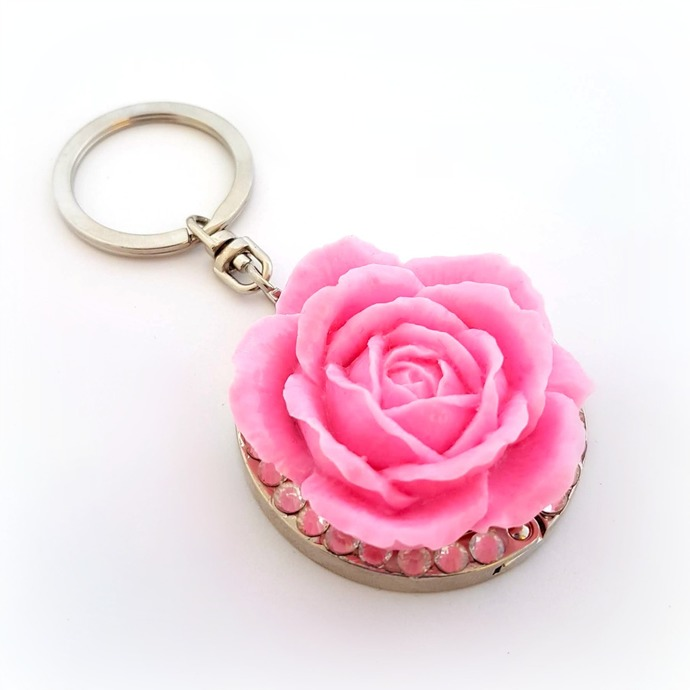 Pink rose keychain purse hook, cute floral bag charm, romantic gift for her