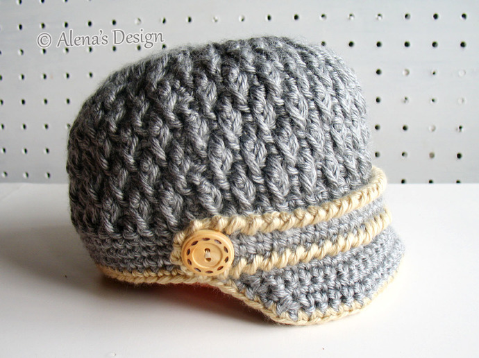 Crochet Pattern 092 Two-Button Visor Hat Crochet Patterns Newborn Baby Boy Baby