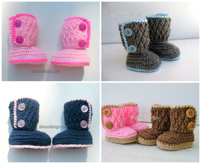 1d463bf936c17 Crochet Pattern 091 - Two-Button Baby Booties 0-3, 3-6, 6-9, 9-12 months  Baby Booties Baby Boy Baby Girl Winter Slippers Crochet Pattern