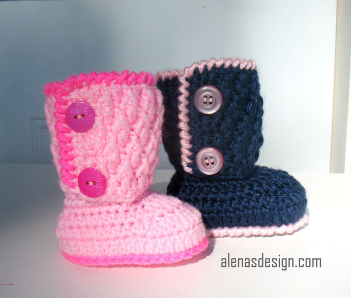 Crochet Pattern 091  - Two-Button Baby Booties 0-3, 3-6, 6-9, 9-12 months Baby