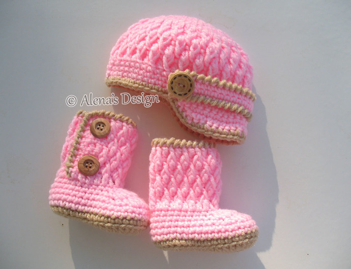 Crochet PATTERN Set - Two-Button Baby Booties - Baby Visor Hat Newborn Baby Boy