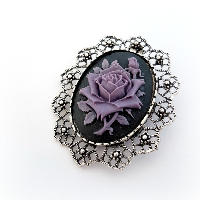 Purple rose cameo brooch, gothic jewelry, dark rose cameo brooch pendant