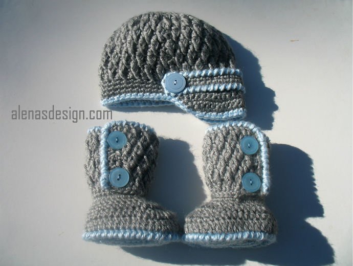 Crochet PATTERN Set - Crochet Patterns - Two-Button Baby Booties, Baby Visor