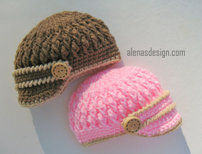 Crochet PATTERN Set - Crochet Patterns - Two-Button Baby Booties, Baby Visor
