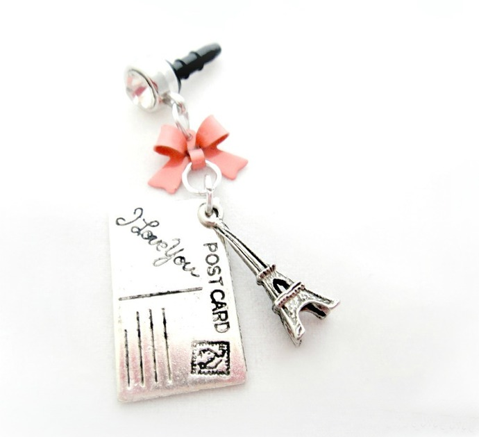 Letters from Paris phone dust plug, iPhone charm, smartphone accessory