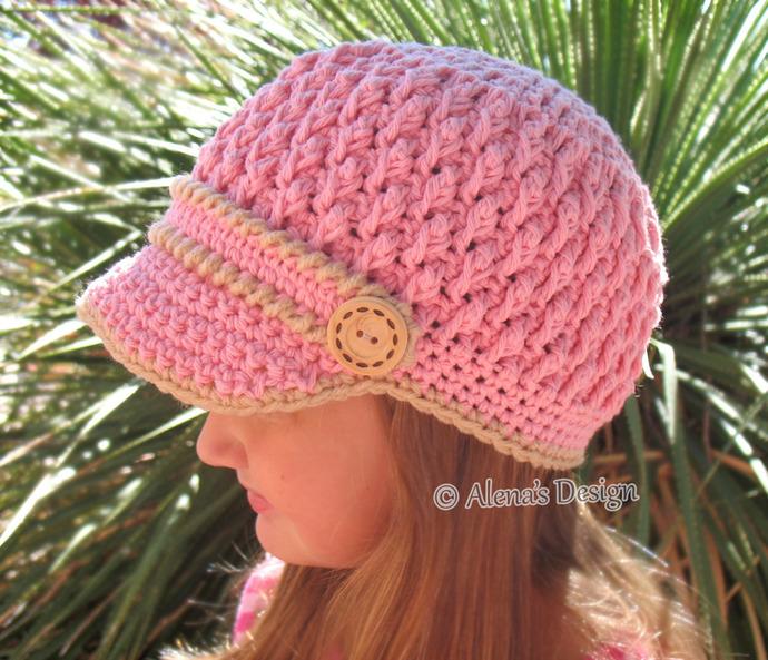 Crochet Pattern 093 Two-Button Visor Hat Child Adult  Crochet Hat Pattern Boys