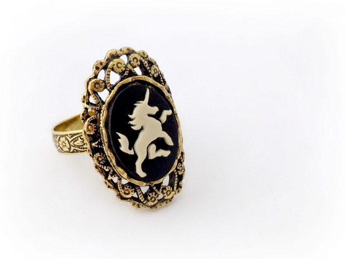 Golden unicorn cameo ring, magical creature fairytale ring, cute gift for her