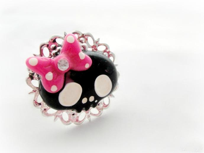 Kawaii black skull ring with polka dot bow, pastel goth