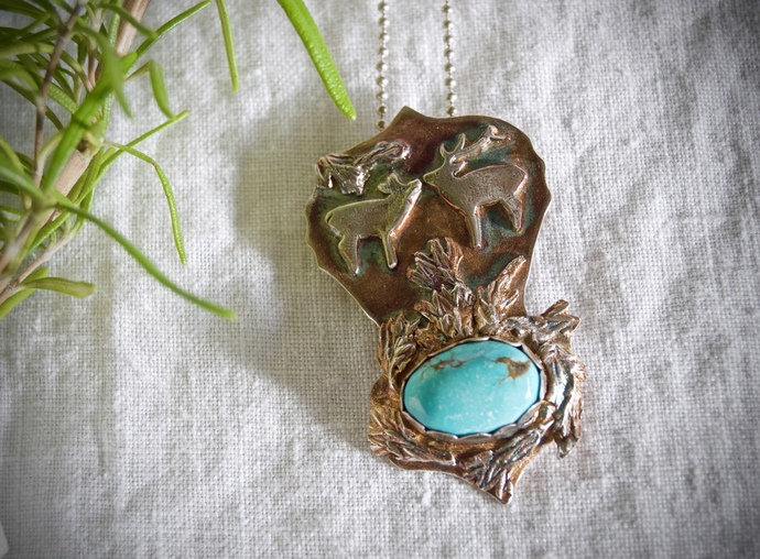 deer necklace, blue diamond turquoise necklace, silver animal jewelry, kissing