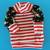 SMALL Flannel Elf Dog Tshirt with striped knit trim