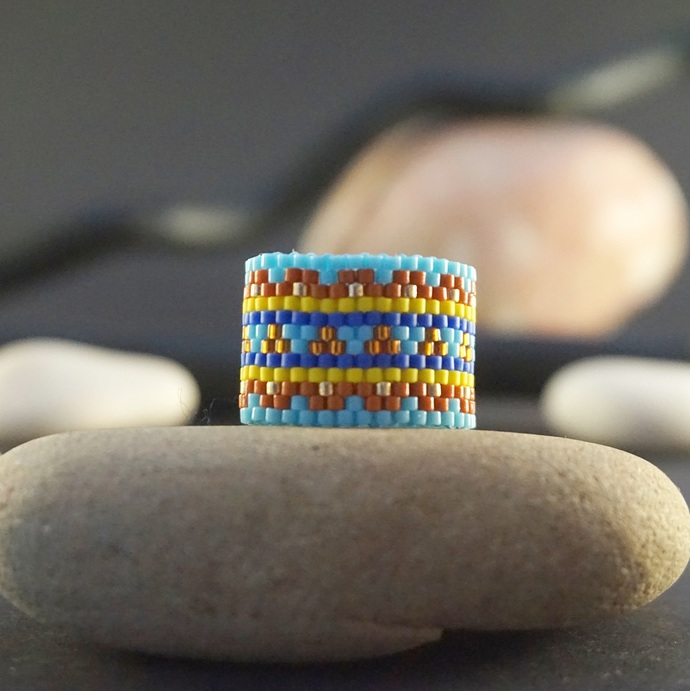 Boho rings for women, Beaded ring, Fashion rings, Tribal ring, Hippie ring, Wide