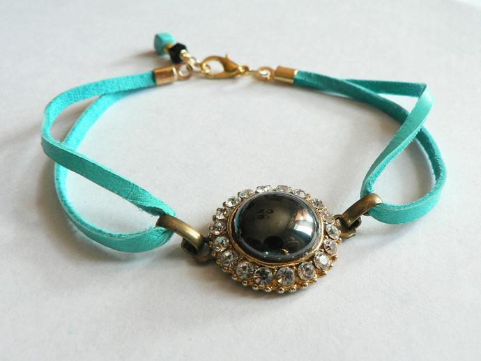 Leather Vintage Earring Bracelet Turquoise Rhinestone