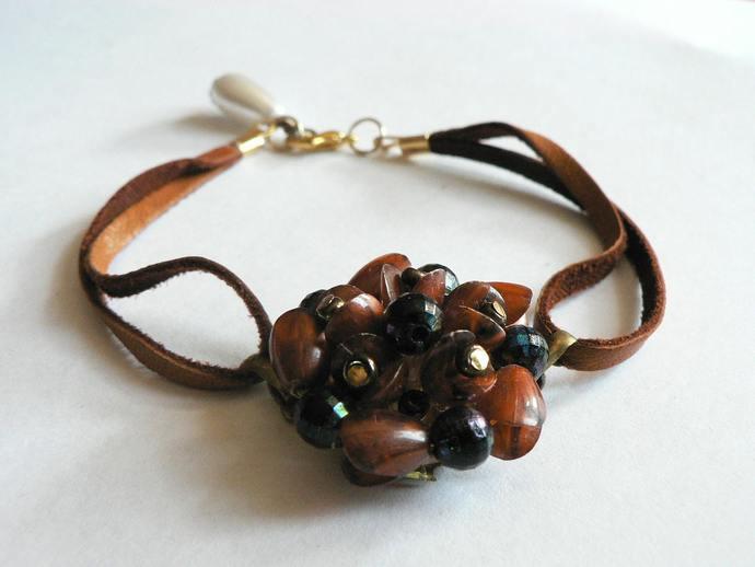 Leather Vintage Earring Bracelet Brown Beaded Earring