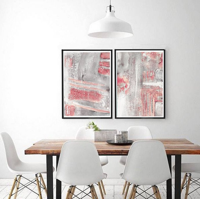 Set of 2 Prints, Abstract Art Print Set, 2 Abstract Prints, digital download