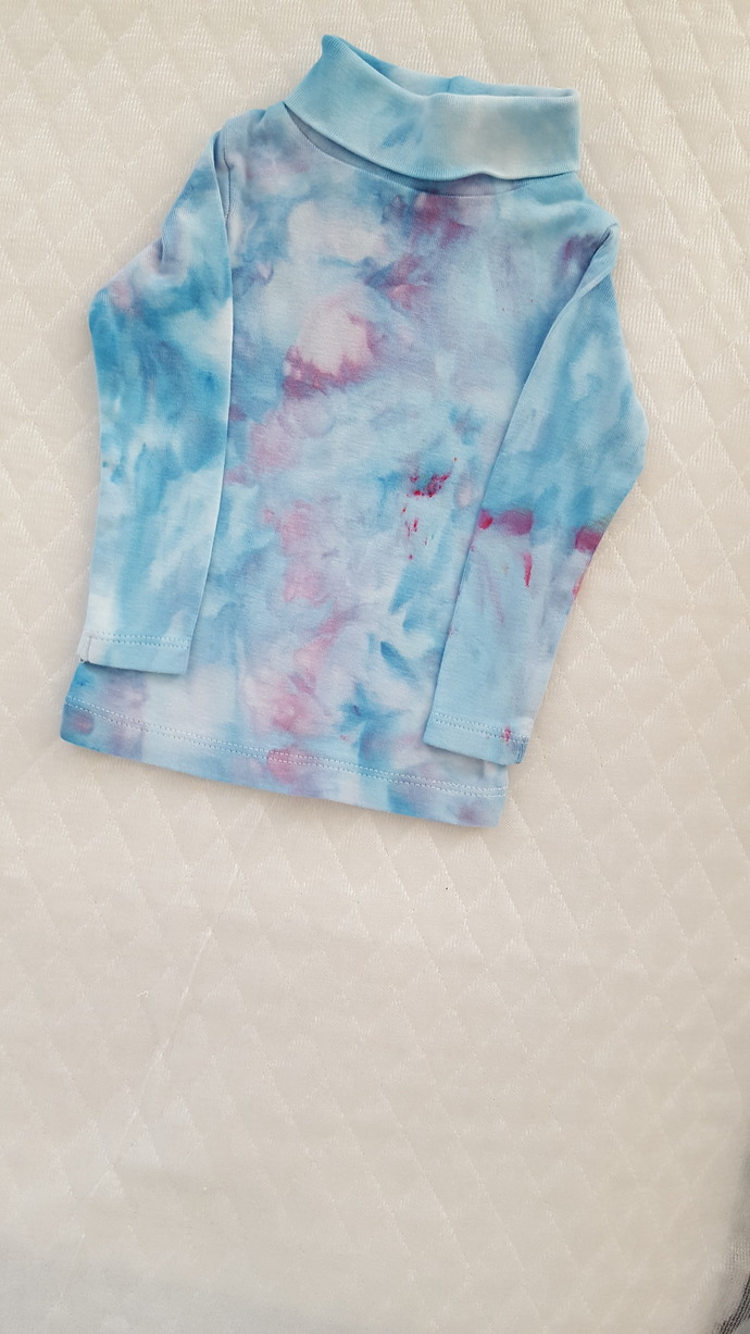 Baby's Turtleneck Top, Ice Dyed Top, Blues and Pinks, Size 6 Months
