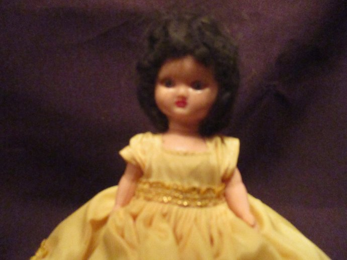 Georgette small doll in yellow ballroom dress