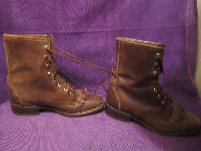 Travelin' boots with fringe and lace - up, sturdy Laredos 7m / alternately could