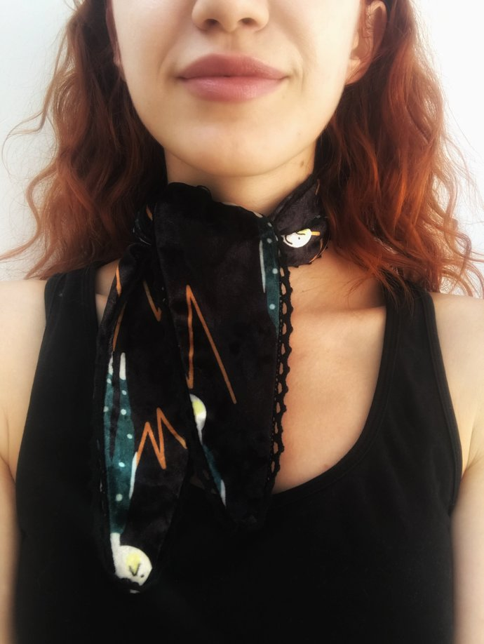 Small neck scarf - mini scarf - velvet scarf - light scarf - hair scarf - small