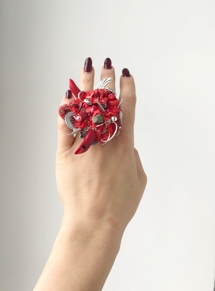 Red Large Ring Kant, Gemstone Big Ring