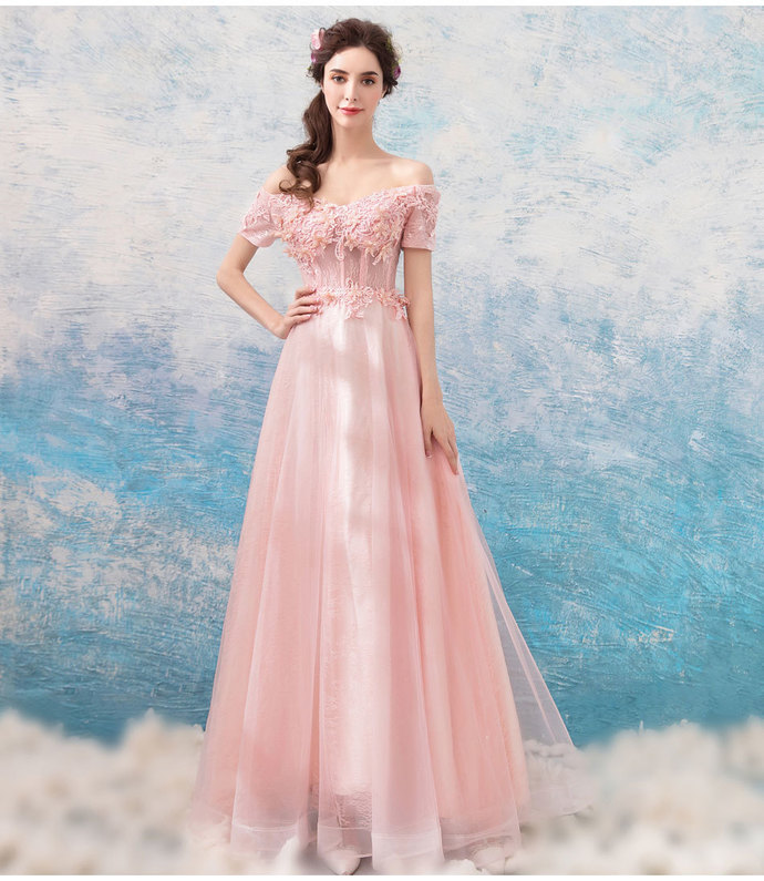 9f7d5b98d9 A Line Light Pink Lace Prom Dress Off the Shoulder Women Evening party Gowns