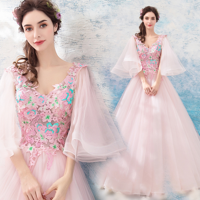 New Arrival Pink Organza Long Prom Dress A Line Women Party Gowns ,Plus  Size Formal Evening Dress