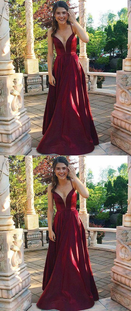 Simple Burgundy Satin Prom Dress Custom made Prom Party Gowns Plus Size  Evening Dress Long