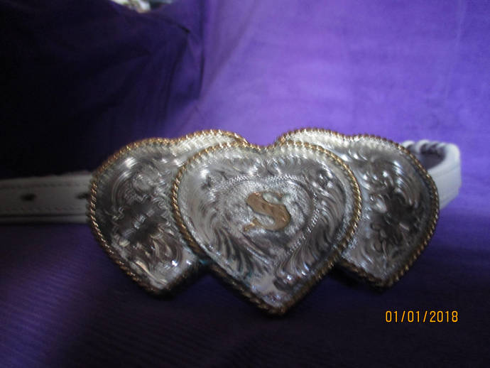 """FISHER white leather western belt with decorative hearts metal buckle """"S"""" size"""