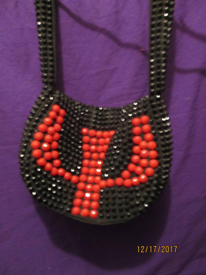 retro-style beaded black/red nightbag Grant's brand / the rune sign Algiz