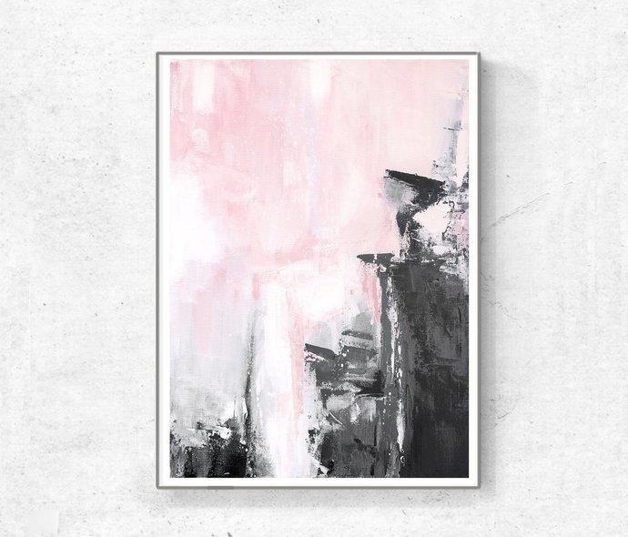 Abstract digital , pink and grey painting, digital download print, abstract