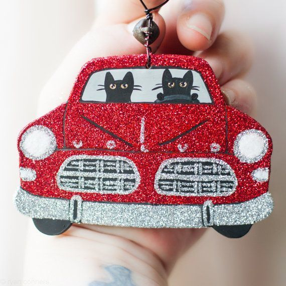 Glittery Road Trip Christmas Volvo Cats Folk Art Clay Ornament
