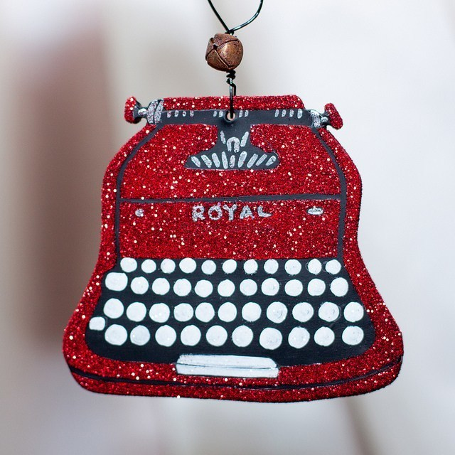Glittery Vintage Typewriter Christmas Folk Art Clay Ornament