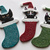 Glittery Cat in Stocking Christmas Folk Art Clay Ornament
