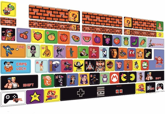 Universal Keyboard stickers Decoration Protector 8 bit games, nes, nintendo,