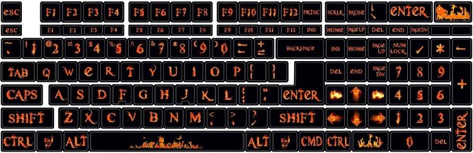 Universal Keyboard stickers Decoration Protector  Fire, Spurts of Flame