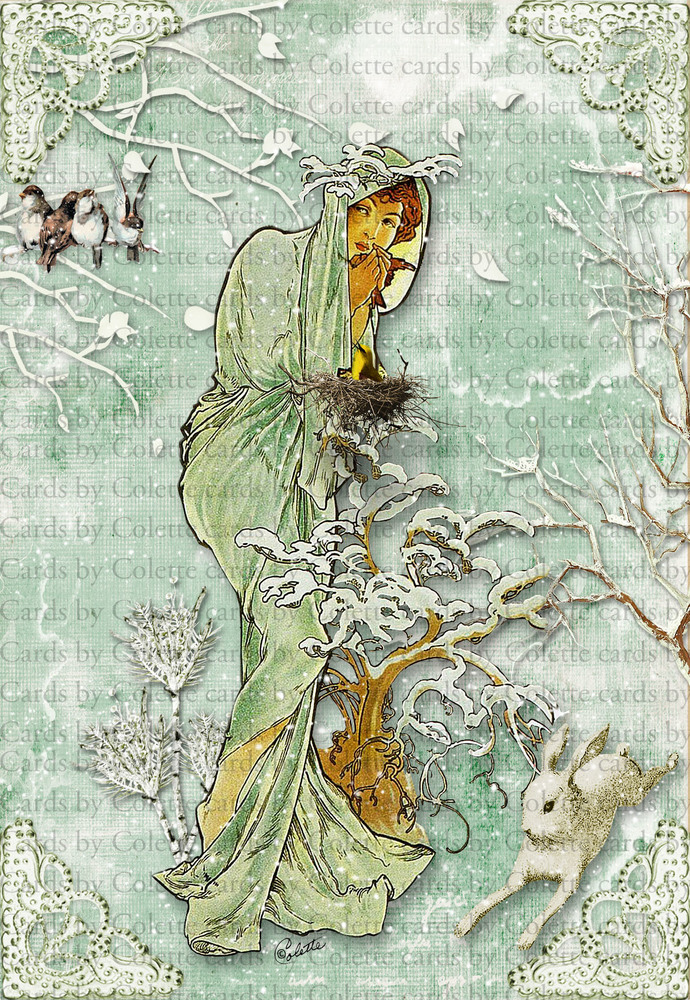 Winter Lady and Birds Digital Collage Greeting Card7060
